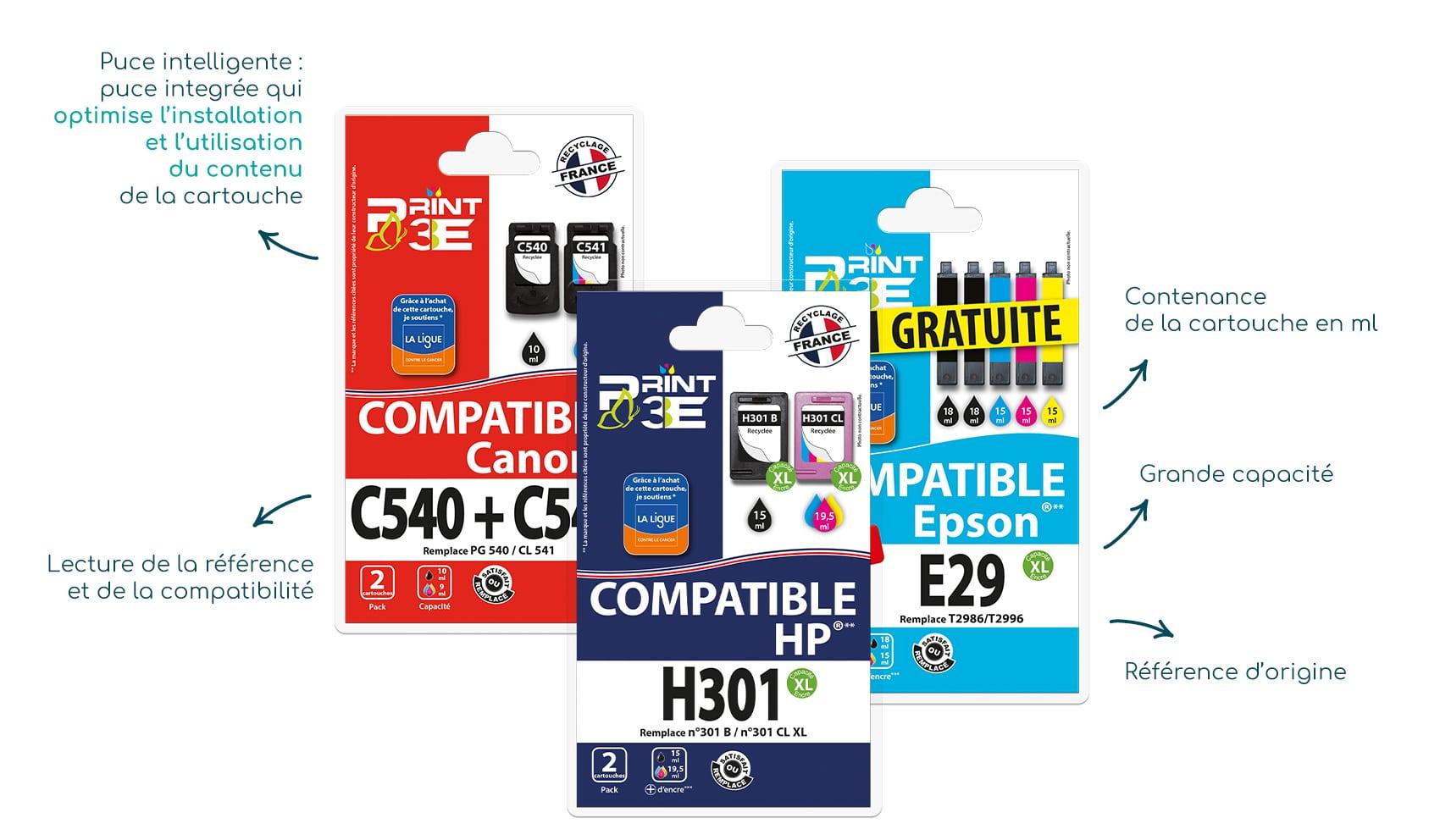 Gamme d'encre compatible Print3E - SRDi